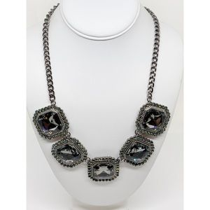 Chico's Gunmetal Large Crystal Necklace